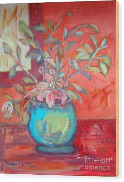 Floral With Orange Background Wood Print by Marlene Robbins