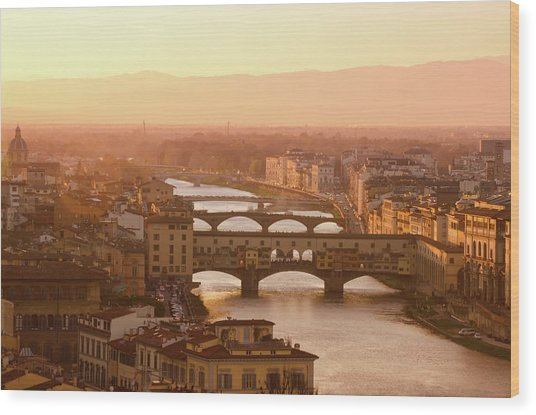 Florence City During Golden Sunset Wood Print by Dragos Cosmin Photos