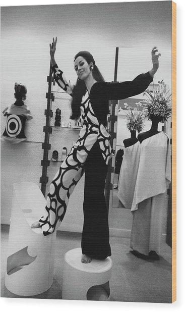 Florence Grinda In Simonetta Paris Boutique Wood Print