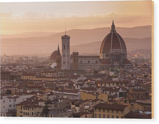 Florence Skyline At Sunset Wood Print
