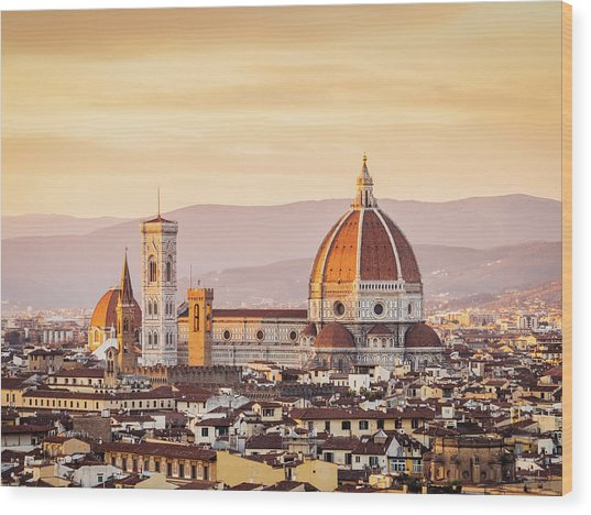 Florences Cathedral And Skyline At Wood Print by Filippobacci