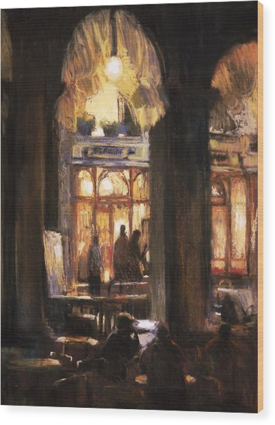 Florians Cafe Venice Wood Print by Jackie Simmonds