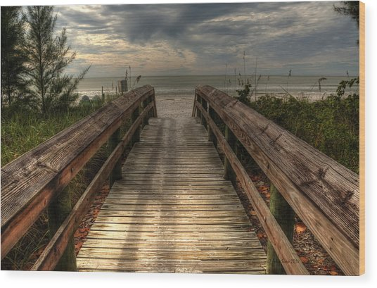 Florida Beach Entrance With A Beautiful Sky Wood Print