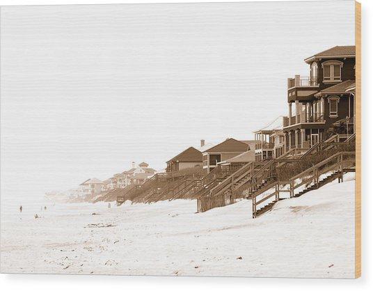 Florida Beach Sepia Print Wood Print