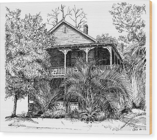 Florida House Wood Print