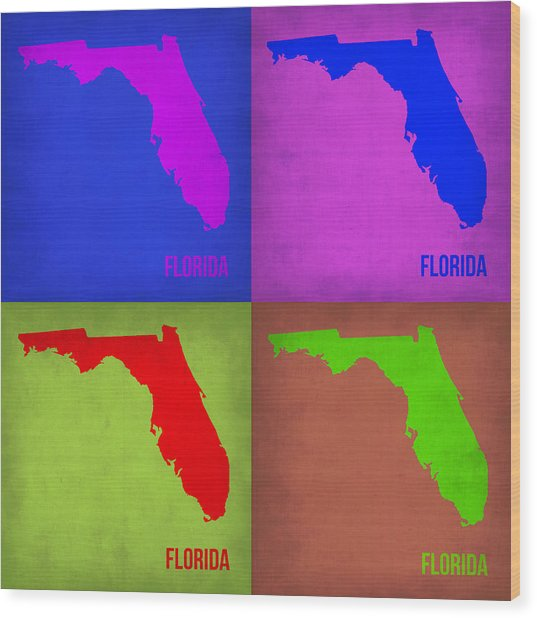 Florida Pop Art Map 1 Wood Print