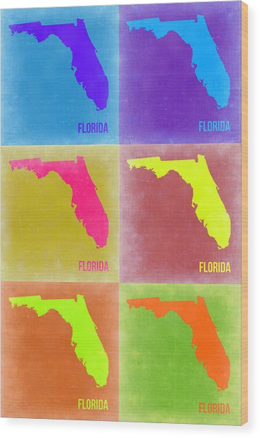 Florida Pop Art Map 2 Wood Print