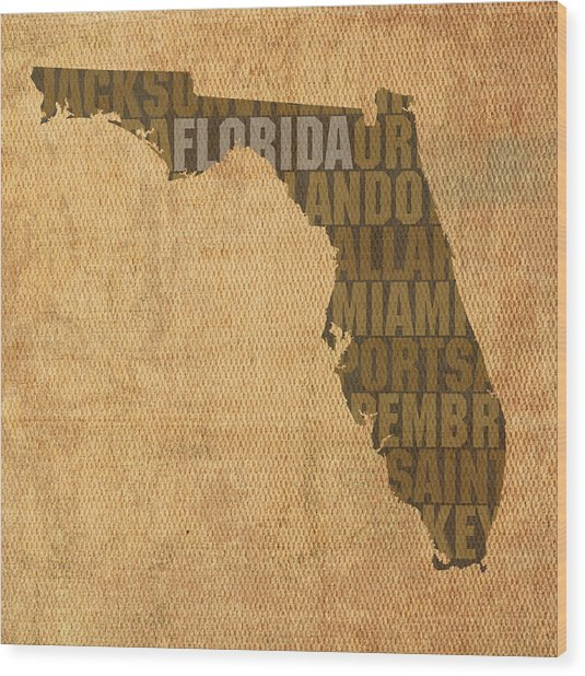 Florida Word Art State Map On Canvas Wood Print