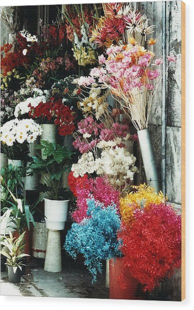 Florist In Athens Wood Print by Jacqueline M Lewis