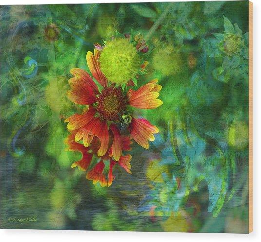 Flower Abstract Wood Print by J Larry Walker
