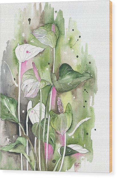 Flower Anthurium 04 Elena Yakubovich Wood Print