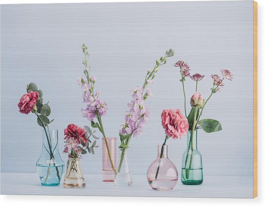 Flower Arrangement In Pastel Wood Print by Knape
