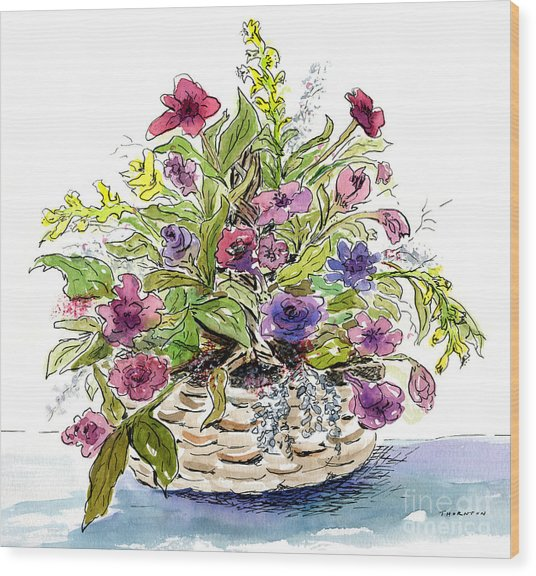 Flower Basket I Wood Print
