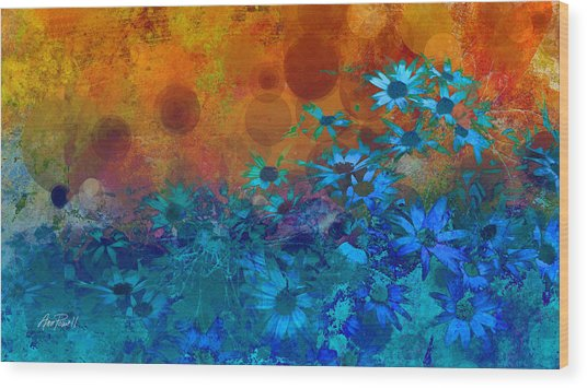 Flower Fantasy In Blue And Orange  Wood Print