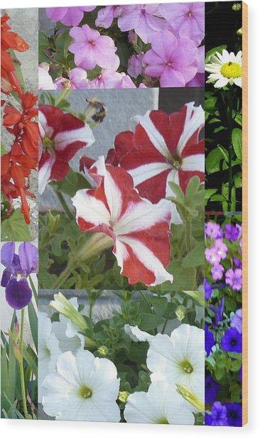 Flower Gardens Montage Wood Print