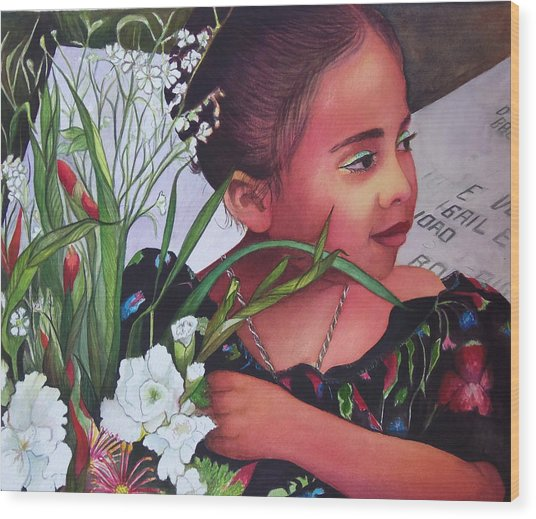 Flower Girl On Dia De Los Muertos Wood Print