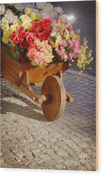 Flower Handcart Wood Print