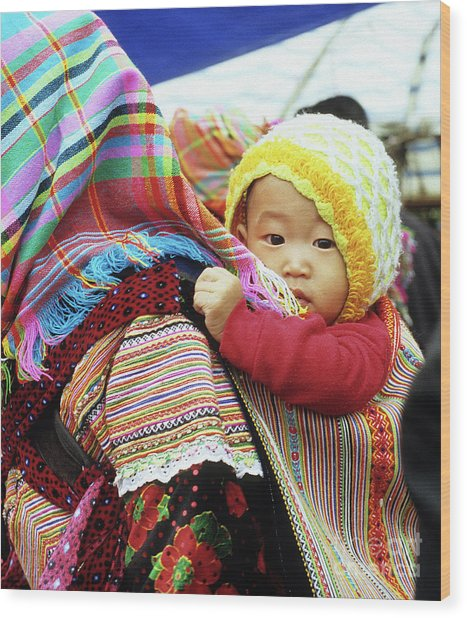 Flower Hmong Baby 04 Wood Print