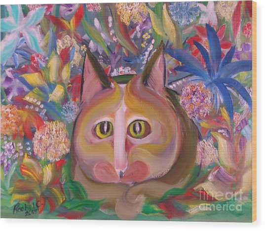 Flower Kitty Wood Print