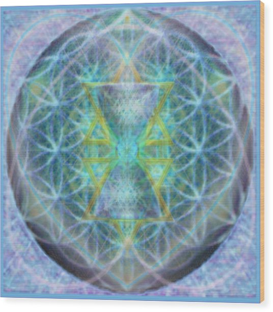 Flower Of Life Forested Chalice In Subtle Bluelavs Wood Print by Christopher Pringer