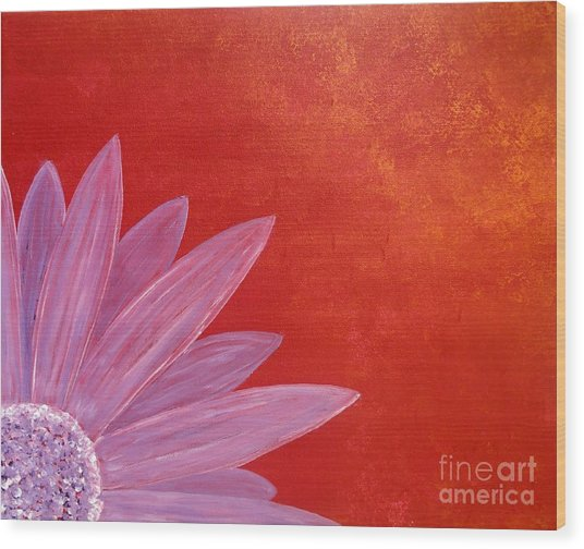Flower On Metallic Background Wood Print