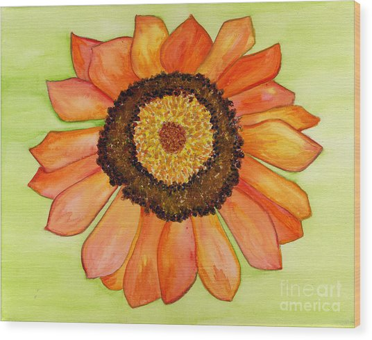 Flower Orange Wood Print