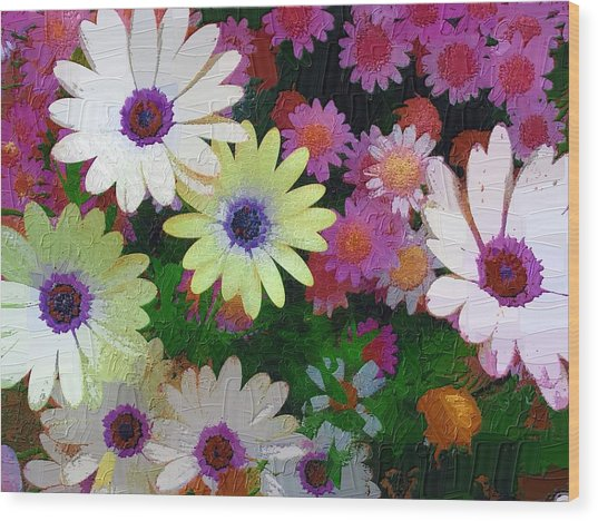 Flower Patch Wood Print