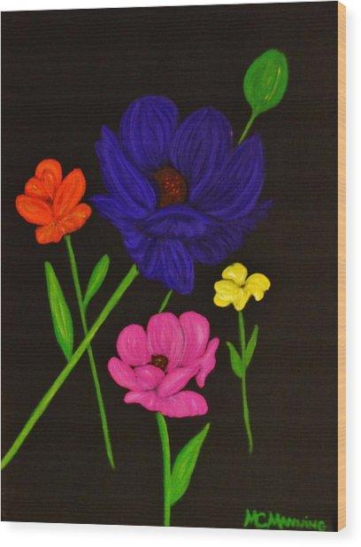 Flower Play Wood Print
