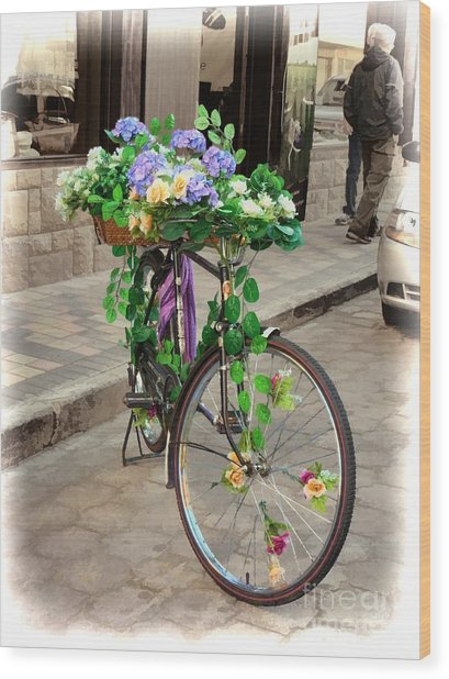 Flower Power Meets Pedal Power  Wood Print