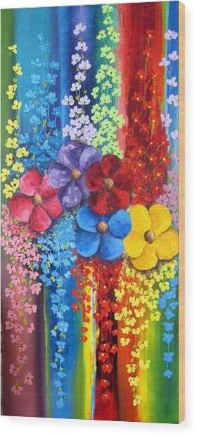 Flower Shower Wood Print