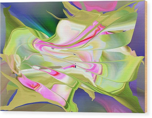 Wood Print featuring the digital art Flower Song Abstract by rd Erickson