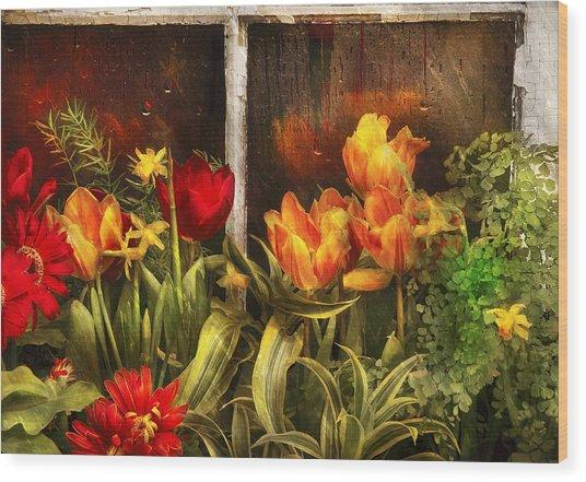Flower - Tulip - Tulips In A Window Wood Print