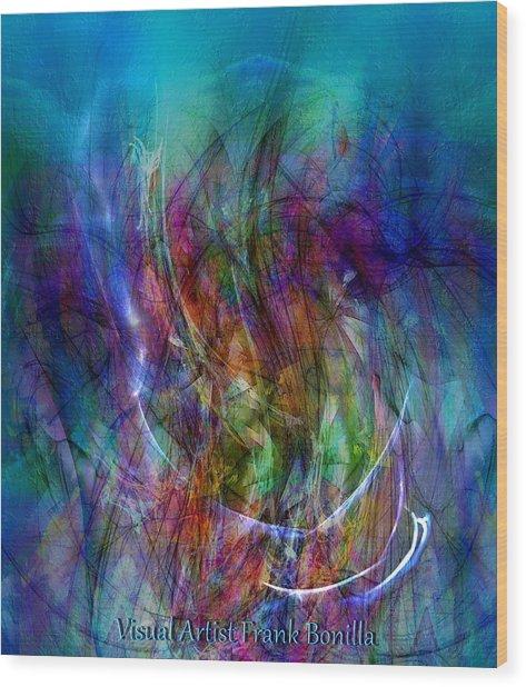 Wood Print featuring the digital art Flower Vase by Visual Artist Frank Bonilla