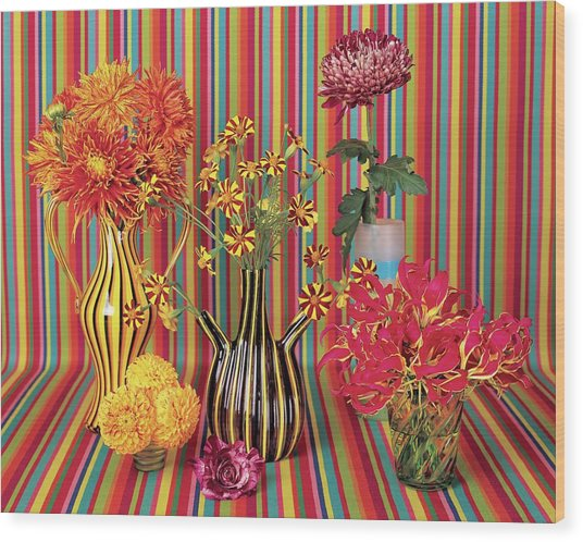 Flower Vases Against Striped Fabric Wood Print