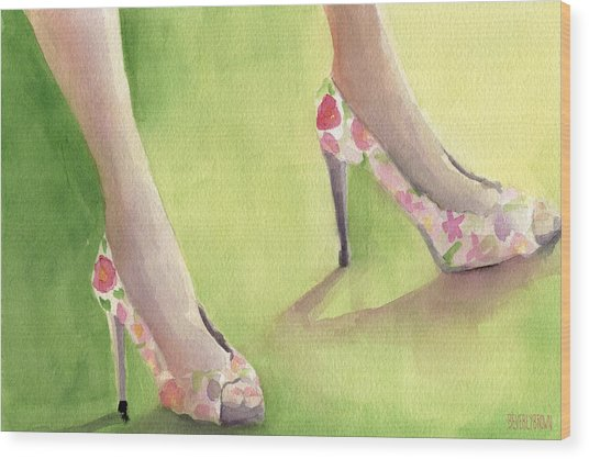 Flowered Shoes Fashion Illustration Art Print Wood Print