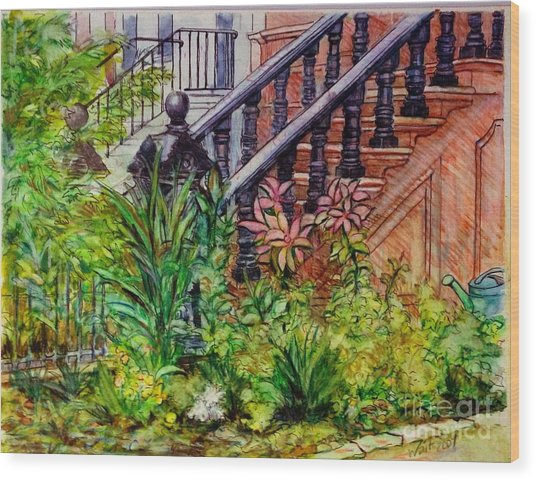 Flowers And Balustrade Eighth Street Wood Print