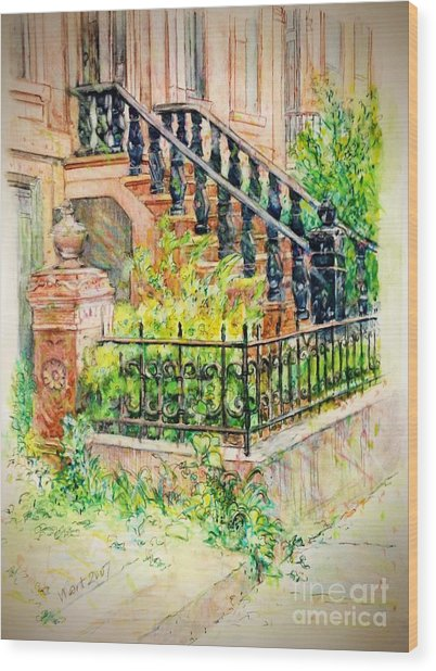 Flowers And Balustrade Ninth Street Wood Print