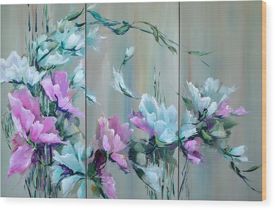 Flowers And Bamboo - Tryptych Wood Print by Steven Nevada