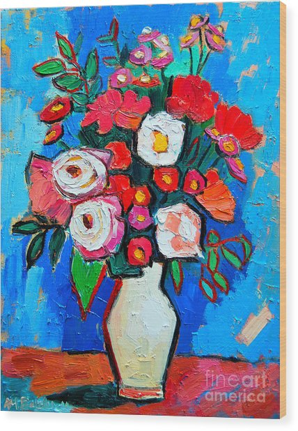 Flowers And Colors Wood Print