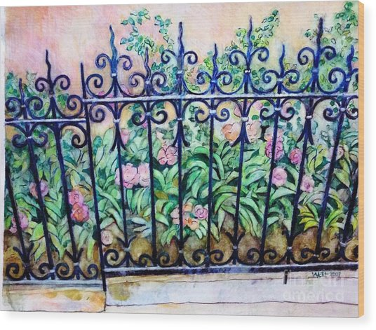 Flowers And Fence On Eighth Avenue Wood Print