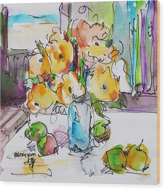 Flowers And Green Apples Wood Print by Becky Kim