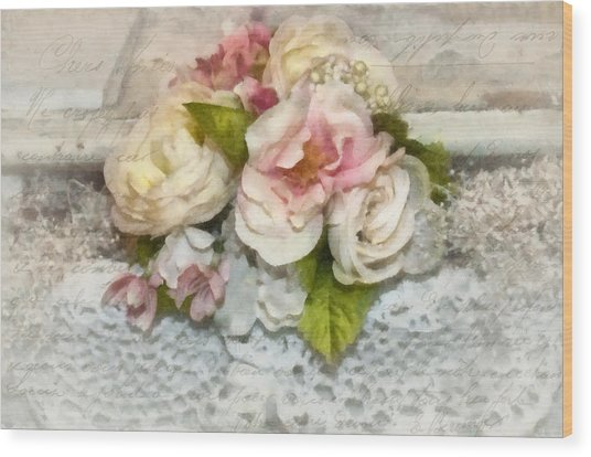 Flowers And Lace Wood Print by Kathy Jennings