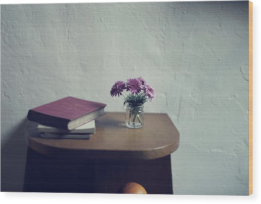 Flowers And Old Books Wood Print