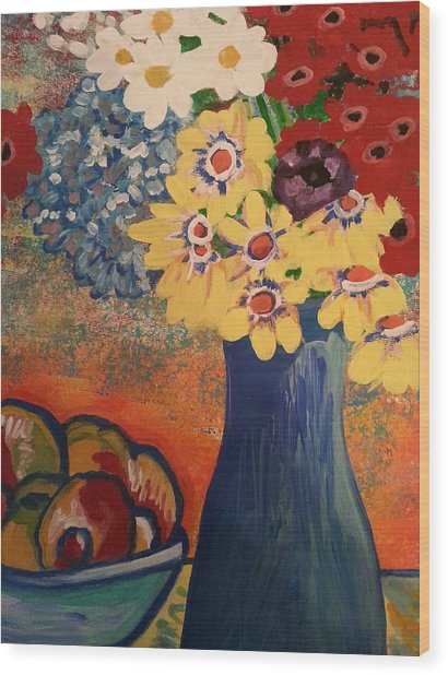 Flowers And Oranges Wood Print