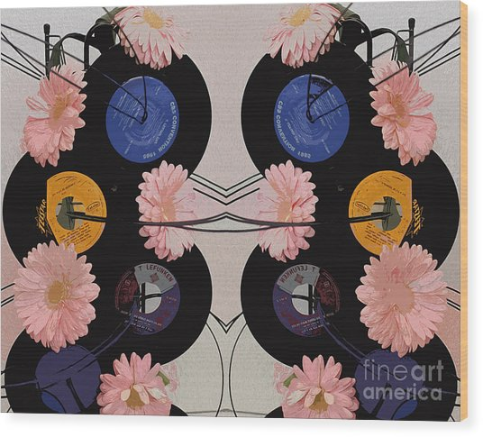 Flowers And Phonographs Wood Print