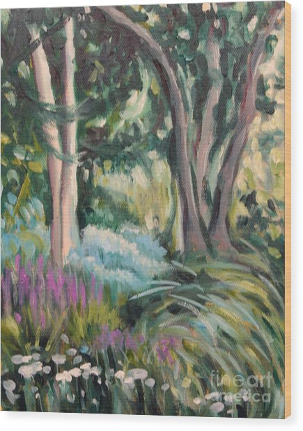 Flowers And Shade Wood Print by Hilary England