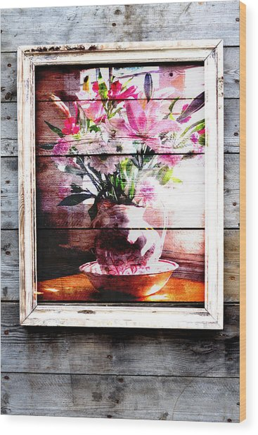 Flowers And Wood Wood Print