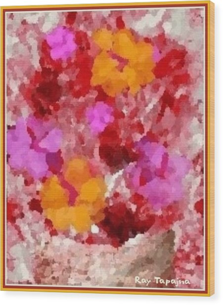 Flowers Impressions  Wood Print by Ray Tapajna