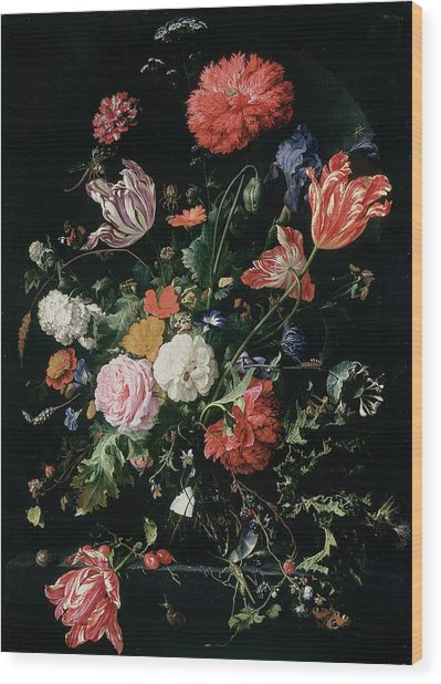 Flowers In A Glass Vase, Circa 1660 Wood Print