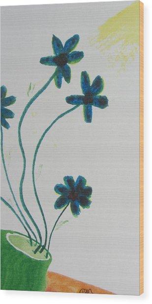 Flowers In A Jade Vase Wood Print by Debbie Nester